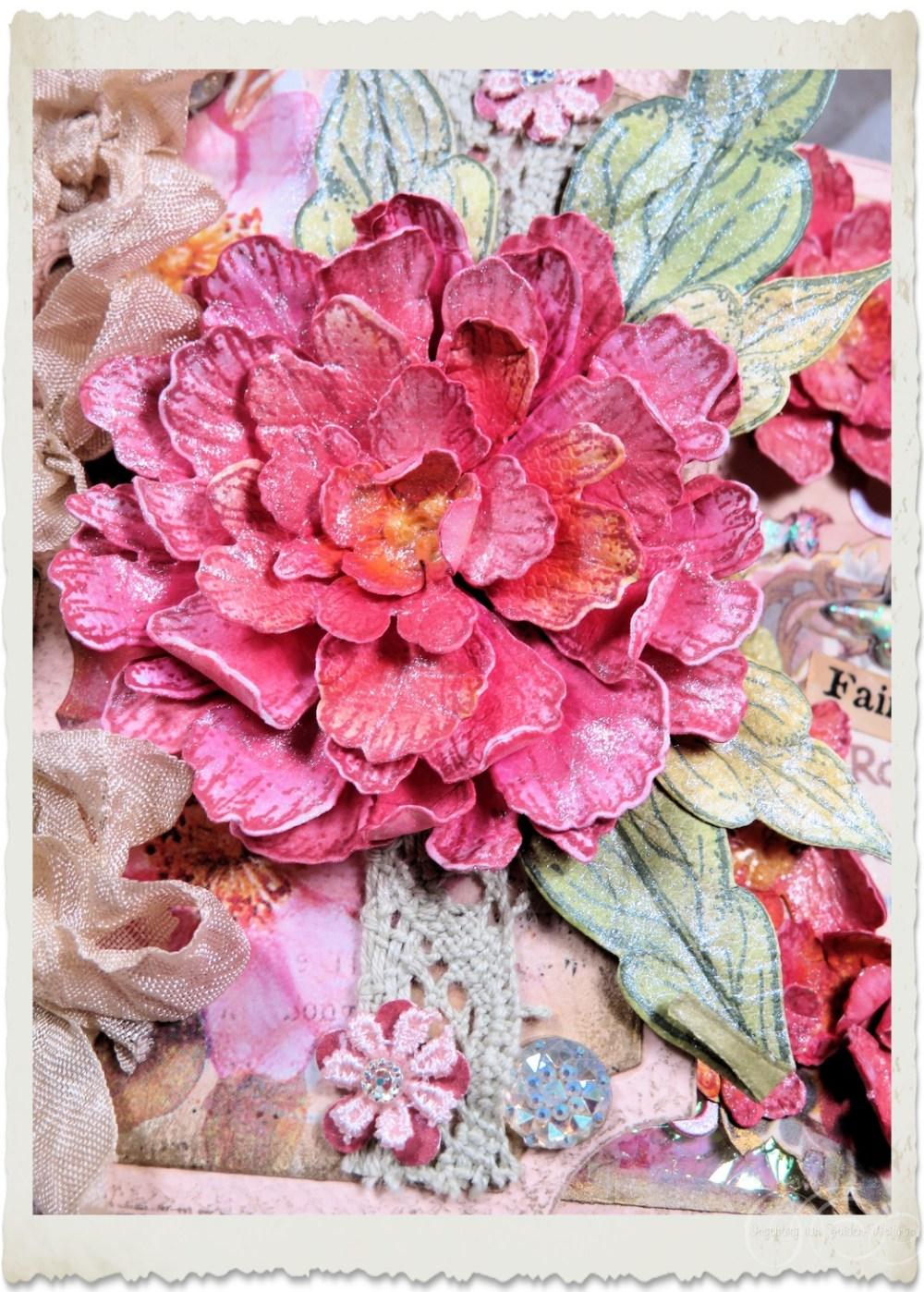 Handmade pink Heartfelt Creations peony flower by Ingeborg van Zuiden