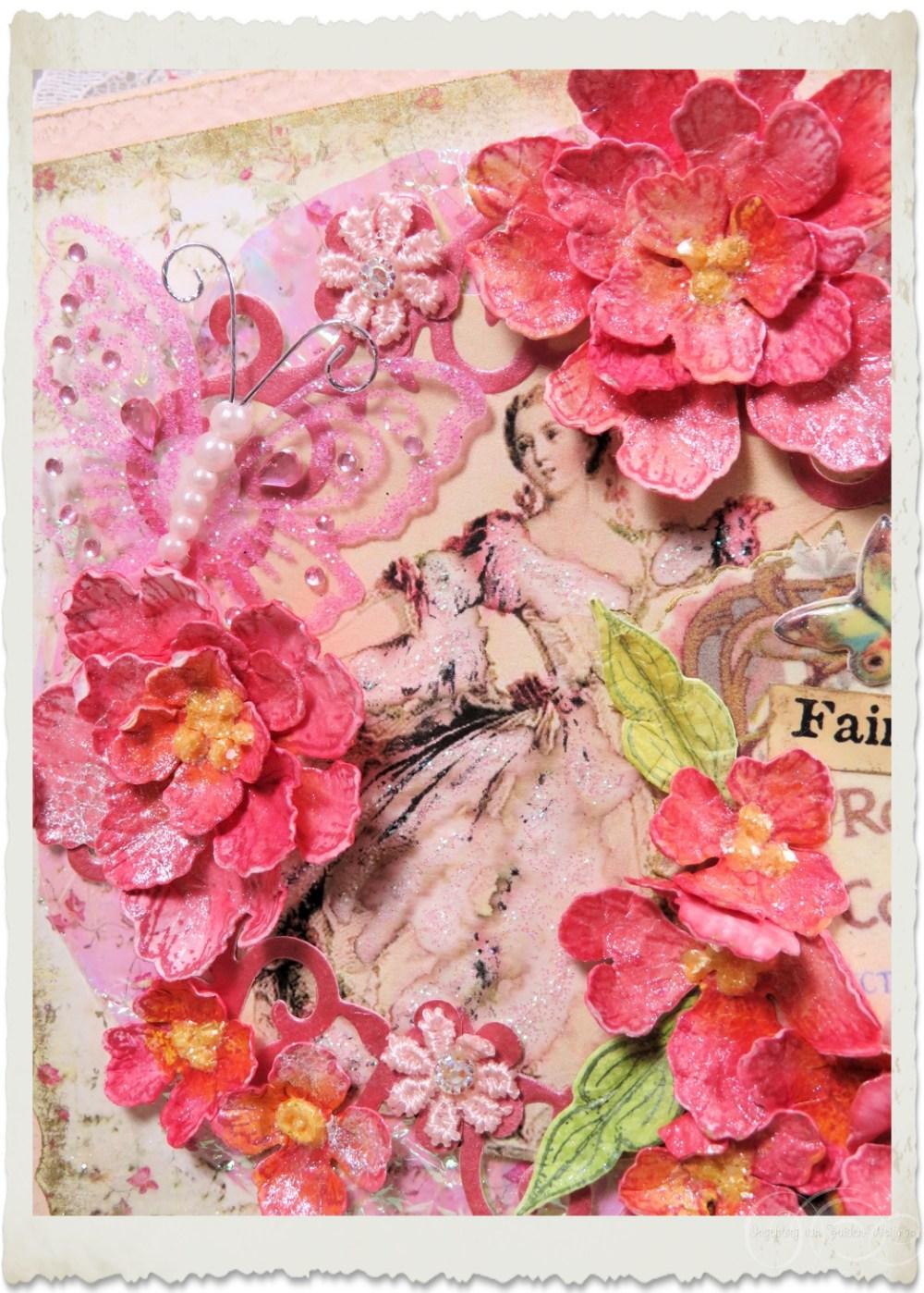 Handmade peony card details by Ingeborg van Zuiden