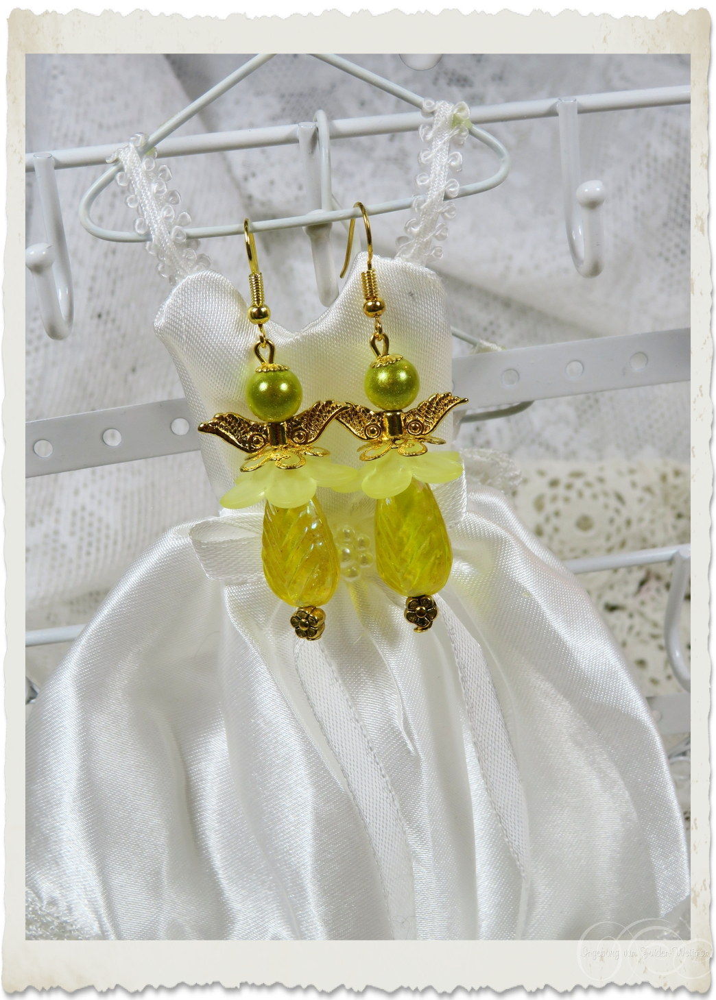 Yellow tulip angel earrings