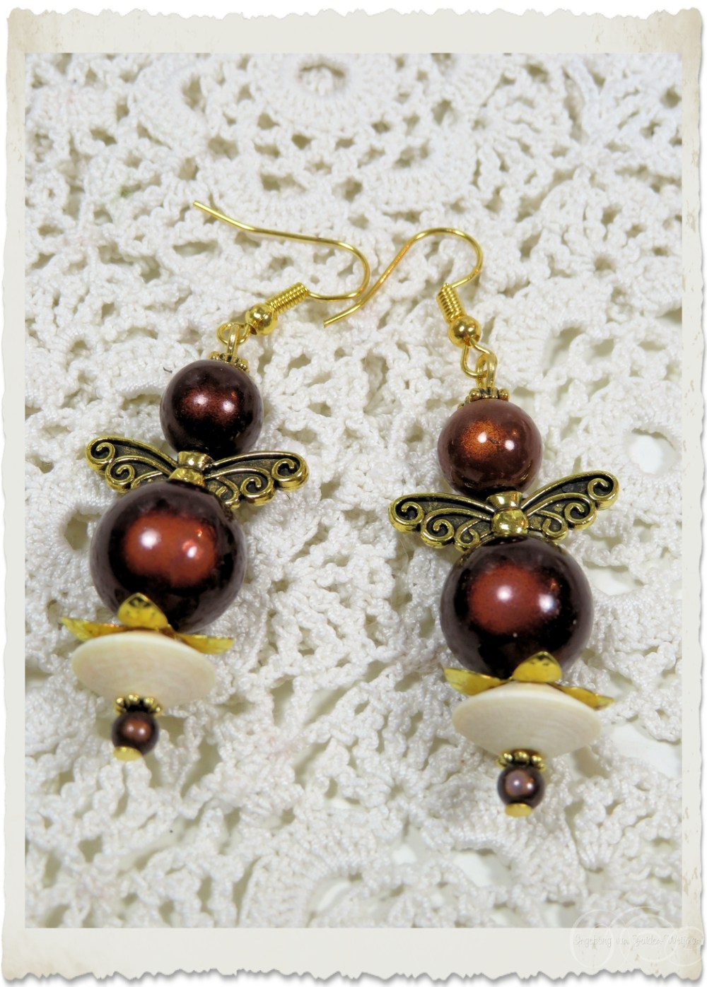 Angel earrings with wooden beads