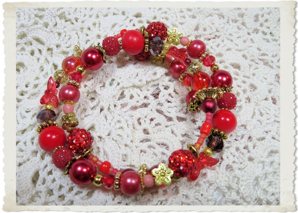 Handmade red bling memory wire bracelet with golden findings