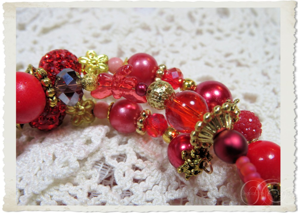 Details of gold and red beads