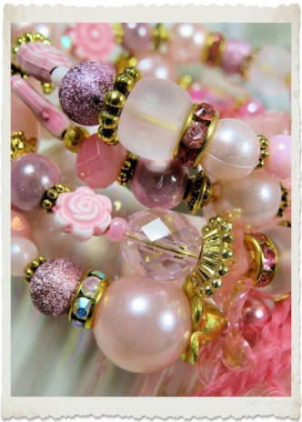 Pink gold memory wire bracelet with candy pink fibers