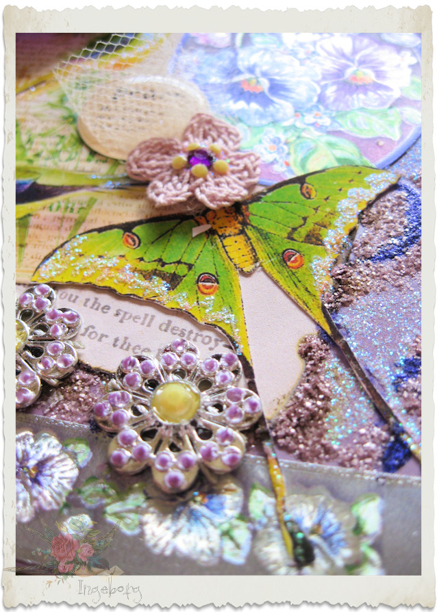 glitter details on handmade pansy card