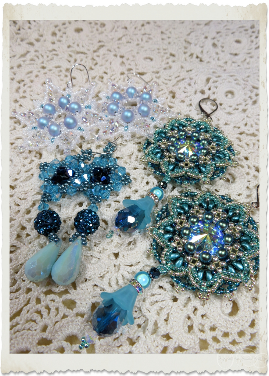 Turquoise and blue bead weaving earrings with Swarovski