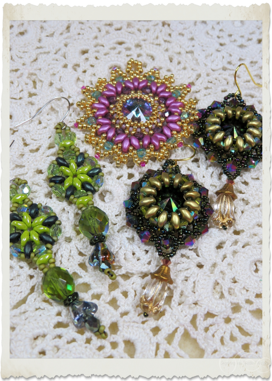 Green gold mauve pendant and earrings with superduo and Swarovski rivoli