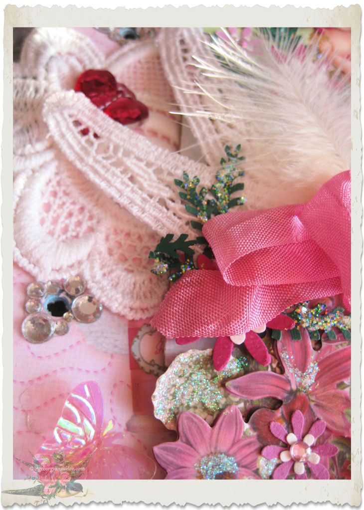 Details of lace ribbon and glitter