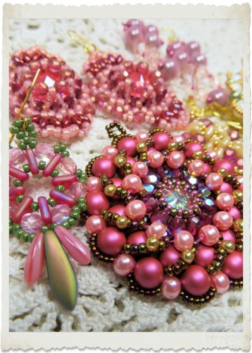 pink Swarovski brooch and earrings