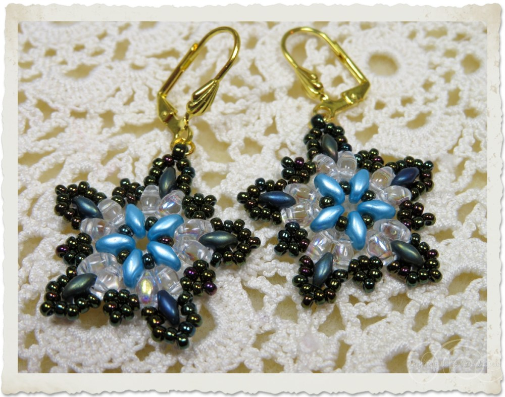 star earrings with superduo and seed beads