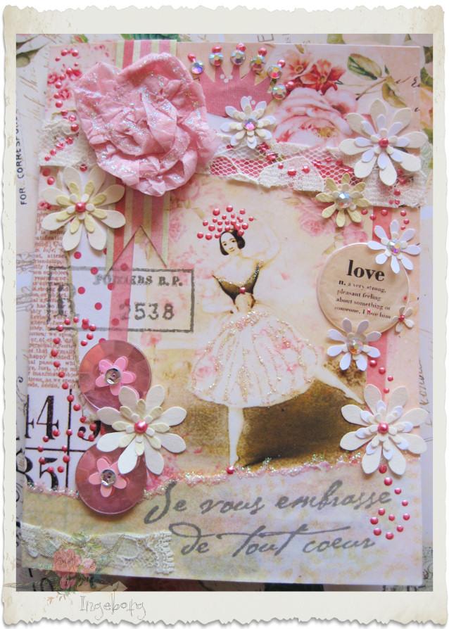 Handmade shabby chic card with ballerina and love wordart