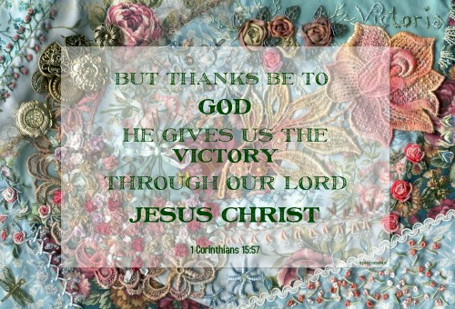 Victory quote and crazy quilt by Ingeborg van Zuiden
