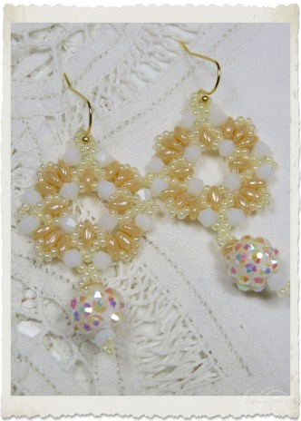 Serene white creme wreath beadweaving earrings