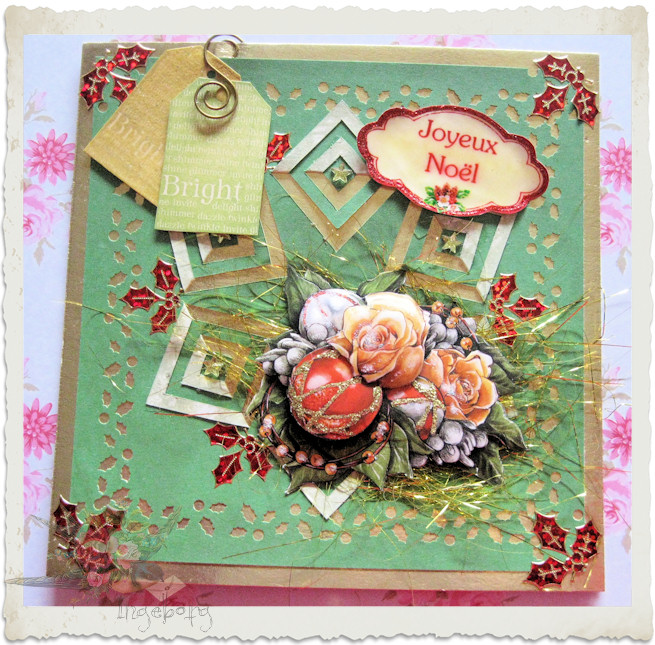 Handmade Christmas card with tags and 3d bouquet