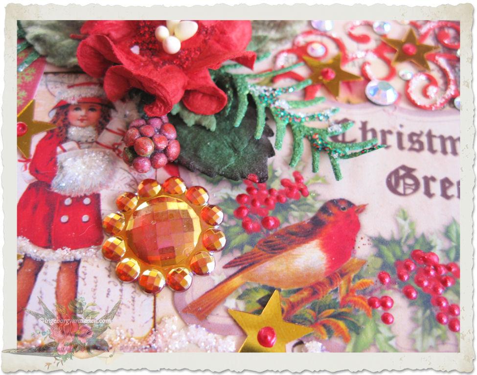 Bling bling stone on Christmas card