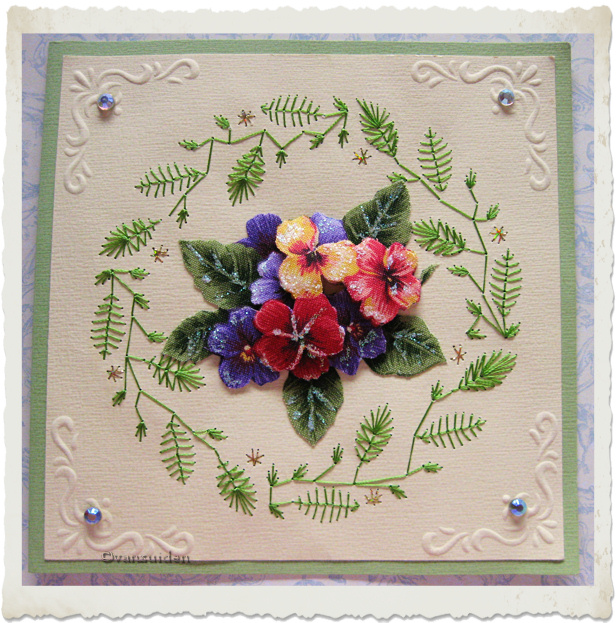 Handmade embroidery card with fabric pansies and embossing by Ingeborg van Zuiden