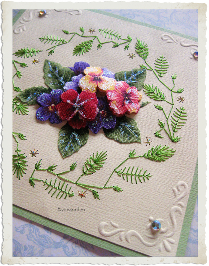 Leaf embroidery on a card with 3d fabric pansies and embossing