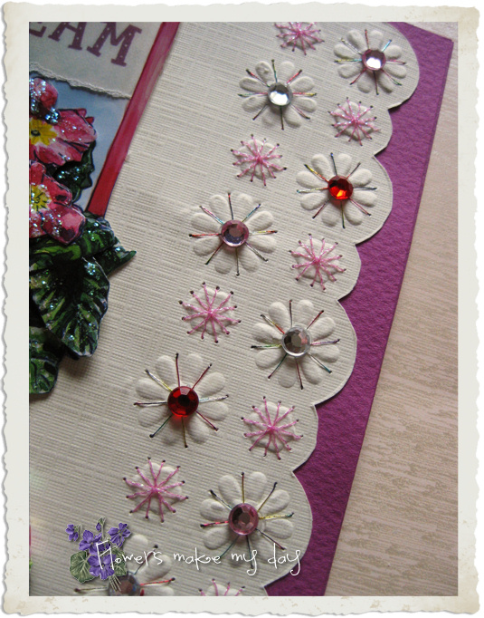 Embossing flowers and embroidery on a handmade card