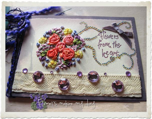 Handmade Spring card with silk ribbon floral bouquet by Ingeborg van Zuiden