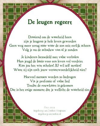 De leugen regeert - Gedicht door IM van Zuiden-Weijman