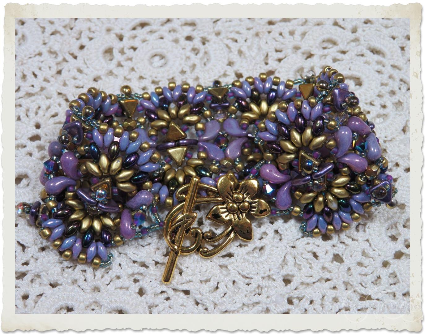 Handmade purple gold bead weaving bracelet with Zoliduo and Superduo beads