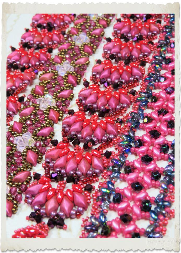 Pink purple bead weaving bracelet with duo beads by Ingeborg van Zuiden