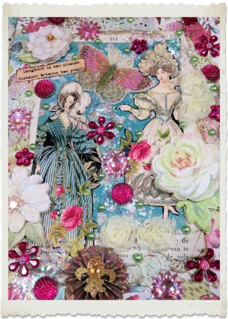 Details of handmade blue pink Regency ladies card with white flowers and bling bling stones