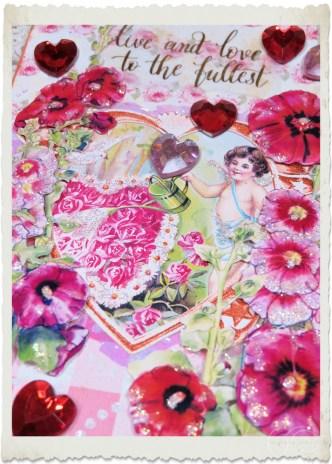 Details of handmade vintage notecard hanger with Hollyhock flowers