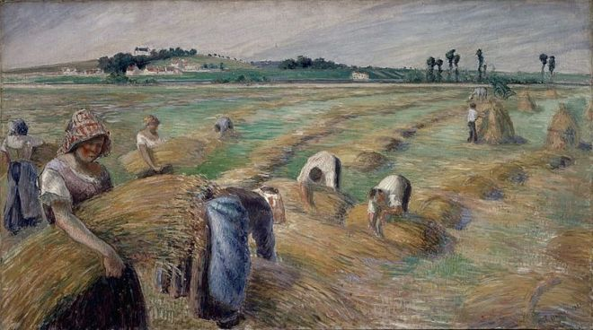 """The Harvest"" by Camille Pissarro"