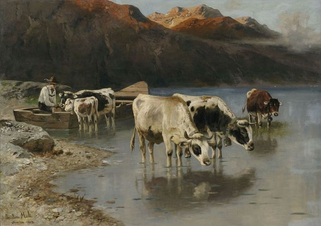 """Shepherd with Cows on the Lakeshore"" by Christian Friedrich Mali"