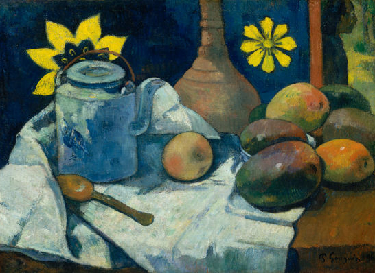 """""""Still Life with Teapot & Fruit"""" by Paul Gauguin"""