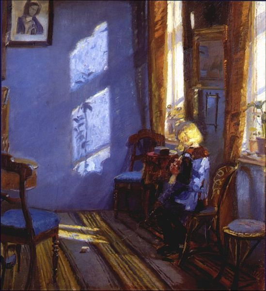 """""""Sunlight in the Blue Room"""" by Anna Ancher"""