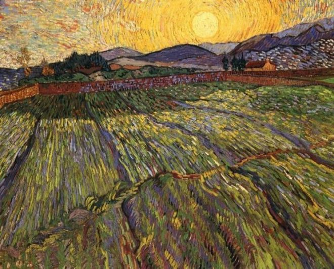 """Enclosed Field with Rising Sun"" by Vincent van Gogh"