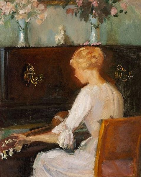 """""""Young Woman Playing a Guitar Before a Piano"""" by Anna Ancher"""