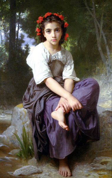 """At the Edge of the Brook"" by William-Adolphe Bouguereau"