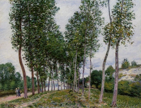 """Lane of Poplars on the Banks of the Loing"" by Alfred Sisley (1839-1899) French Impressionist Landscape Painter"