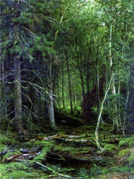 """""""Backwoods"""" by Ivan Shishkin (1832-1898) Russian Landscape Painter"""