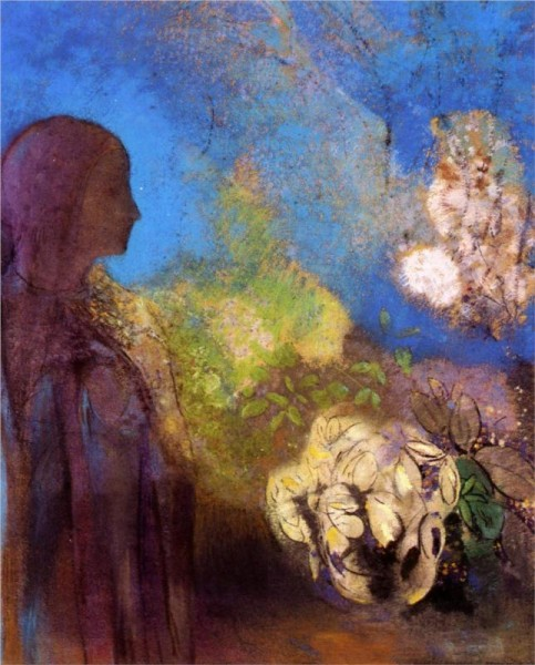 """Girl with Chrysanthemums"" by Odilon Redon (1840-1916) French Symbolist Painter & Printmaker"