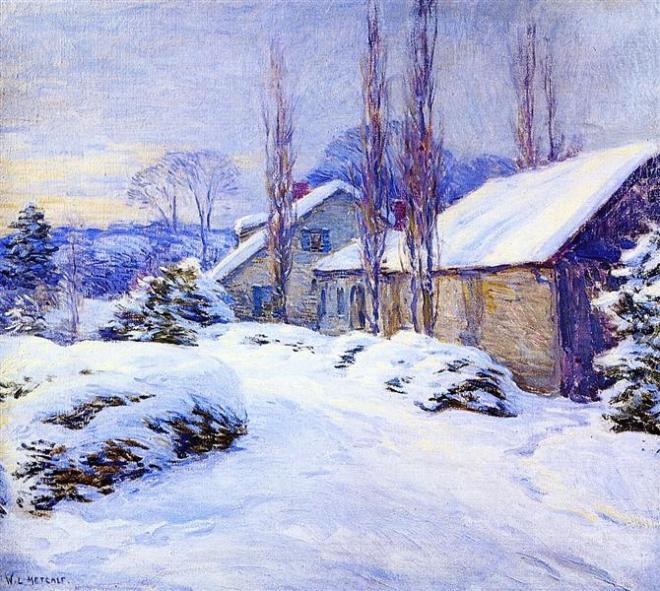 """Winter Afternoon"" by Willard Metcalf (1858-1925) American Painter"