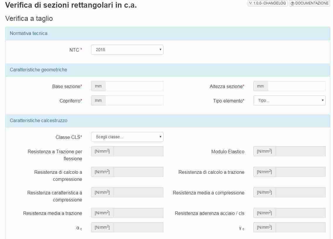 app screen sezioni rettangolari a slu in ca