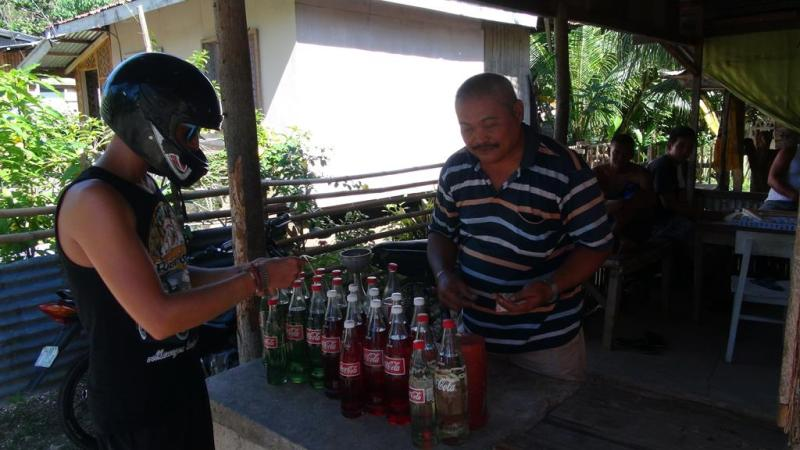 filippinerne, tankstation, scooter, siquijor island, strand, paradis, palmer