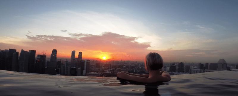 Singapore, marina bay sands, pool, solnedgang, infinity pool