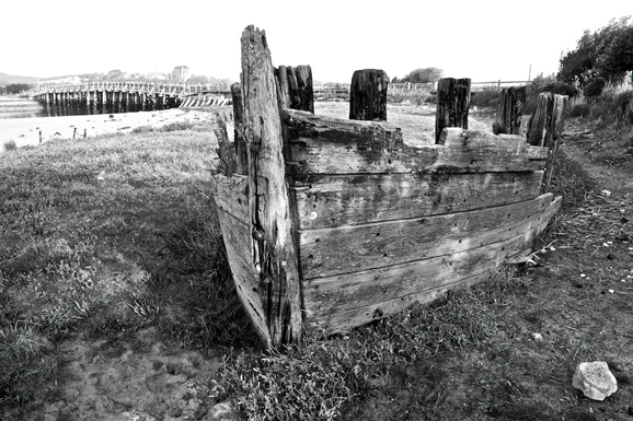 Wreck near Old Shoreham Bridge © Frank Bull, Steyning Arts Summer Art Trail