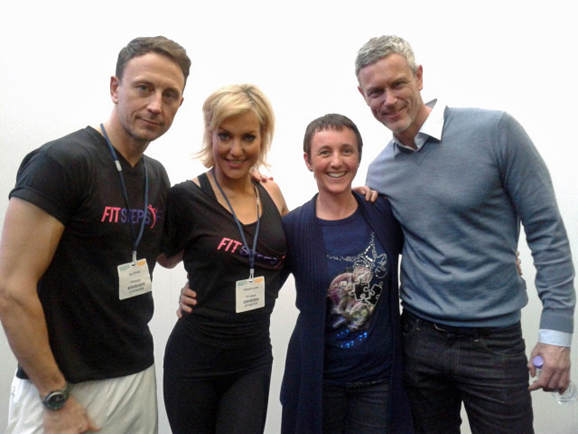 The FitSteps Team. l-r: Ian Waite, Natalie Lowe, Lisa Saw, Mark Foster