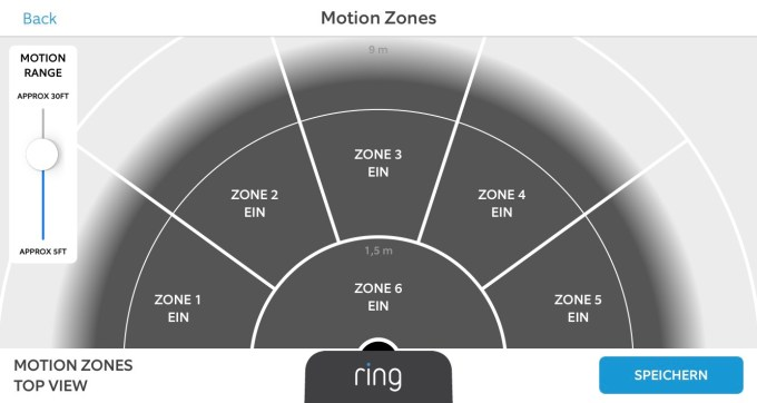 Einstellung der Motion Zones in der App der Ring Video Doorbell 2