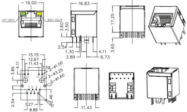 YKJV-0046NL 100Base-T POE Magnetic Connector Vertical RJ45