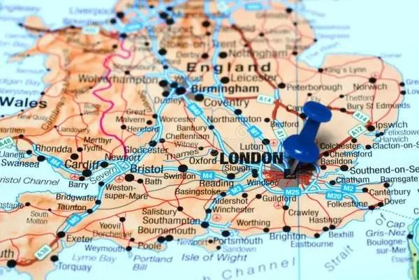 mapa de Inglaterra