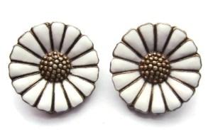 Aarre Krogh & Eftf daisy clip on earrings, for sale at Inglenookery.