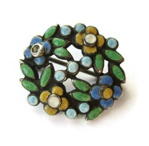 Another Bernard Instone enamel brooch in a different colourway. For sale in my Etsy shop: click on link for details.