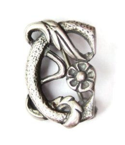Vintage tiny William Morris design sterling silver brooch forming a letter 'C', and made by Ortak in the 1970s.