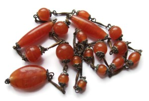 Art Deco carnelian glass lavalier necklace.